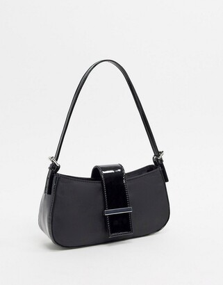 Asos Design DESIGN 90s shoulder bag with patent panels in black