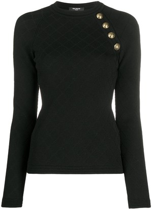 Balmain Quilted Button-Embellished Knitted Top