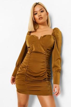 boohoo Petite Satin Corset Style Ruched Mini Dress