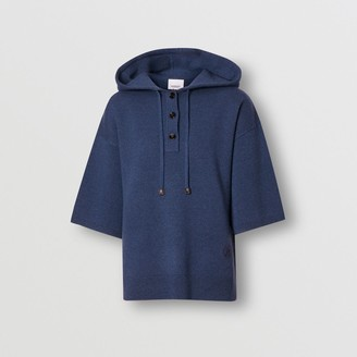 Burberry Short-seeve Cashmere Bend Oversized Hooded Top