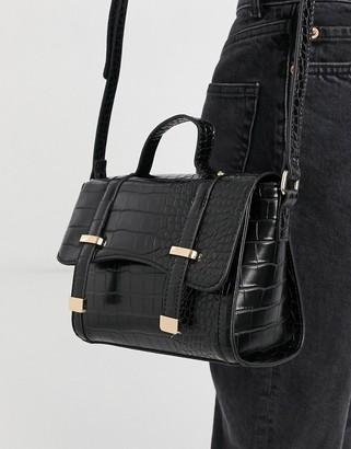 ASOS DESIGN satchel cross-body in black croc