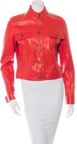 Celine Leather Stand Collar Jacket