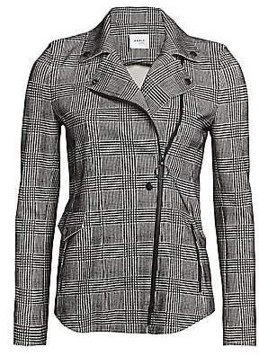 Akris Punto Women's Flocked Glen Check Asymmetric Zip Jacket