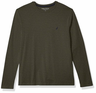 Nautica Men's Super Soft Basic Crew Neck Long Sleeve Tee Shirt
