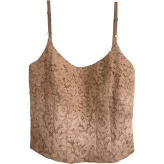 Carmen Marc Valvo Beige Lace Top for Women