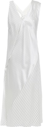 Victoria Beckham Draped Knotted Pinstriped Silk Crepe De Chine Midi Dress
