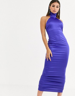 Asos Design DESIGN stretch satin halter ruched hem maxi dress