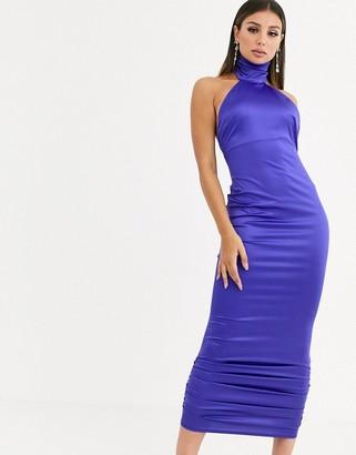 ASOS DESIGN stretch satin halter ruched hem maxi dress