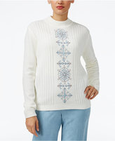 Alfred Dunner Petite Northern Lights Embroidered Sweater