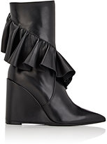 J.W.Anderson Women's Ruffle-Trim Leather Wedge Boots-BLACK