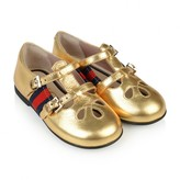 Gucci GUCCIGirls Metallic Gold Leather Shoes With Web