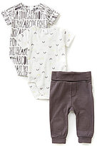Petit Lem Newborn-6 Months Alphabet Printed Bodysuits And Patch-Stitched Pants 3-Piece Layette Set