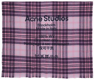 Acne Studios Pink and Purple Tartan Cassiar Scarf