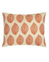 "Trina Turk Catalina Paisley Pillow with Orange Embroidery, 14"" x 18"""