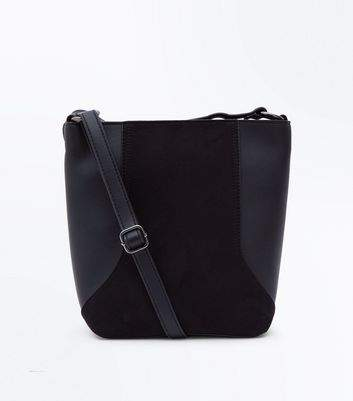 New Look Black Suedette Panel Bucket Bag