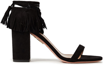Aquazzura Gypset 85 Fringed Suede Sandals