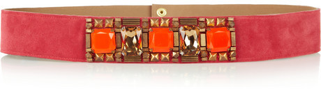 Matthew Williamson Crystal and bead-embellished suede waist belt