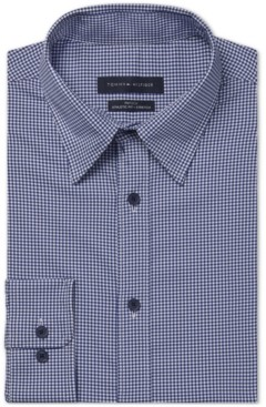 Tommy Hilfiger Men's Fitted Non-Iron Th Tech Performance Stretch No-Tuck Check Dress Shirt