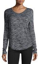 Rag & Bone Hudson Heathered Long-Sleeve T-Shirt, Black Multi