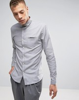 Lindbergh Melange Stretch Shirt Slim Fit in Lt Gray