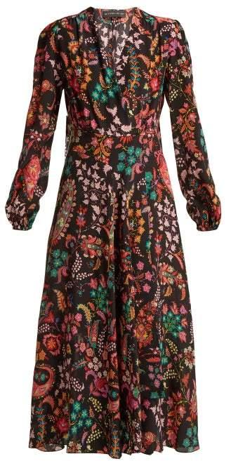 Etro Elsa Floral Print Silk Wrap Dress - Womens - Black Print