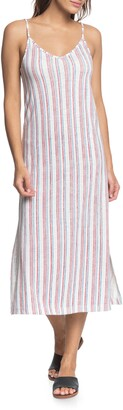 Roxy Avila Beach Stripe Sleeveless Midi Dress