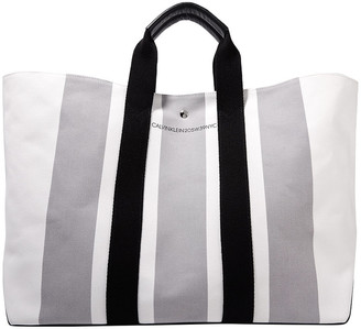 Calvin Klein Leather-trimmed Striped Canvas Tote
