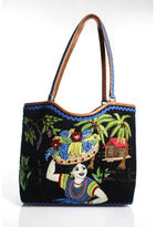 Isabella Fiore Multi Colored Cotton Sequined Two Strap Shoulder Bag