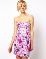 Asos Moulded Hip Dress In Tapestry Print