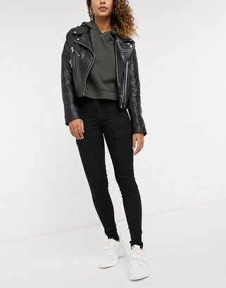 Dr. Denim Lexy cardgo mid rise second skin super skinny jeans in black