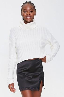 Forever 21 Satin Lace-Trim Mini Skirt