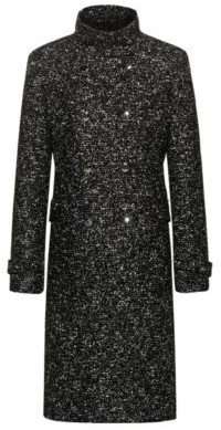 HUGO BOSS Double-breasted coat in tweed-effect fabric