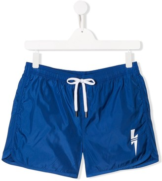 Neil Barrett Kids TEEN classic nylon swim shorts