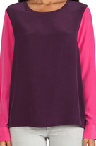 Equipment Colorblock Liam Blouse with Contrast Sleeves