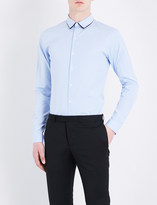 Sandro Contrast-collar regular-fit cotton shirt