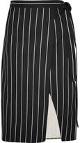 Balenciaga Striped Cotton Wrap Skirt - Black