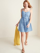 Old Navy Chambray Button-Front Fit & Flare Cami Dress for Women