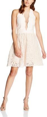 Little Mistress Women's Scallop And Crochet Pleated Sleeveless Dress