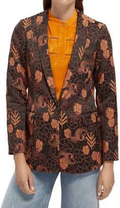 Scotch & Soda Floral Print One-Button Blazer