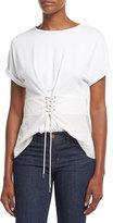 3.1 Phillip Lim Short-Sleeve W/ Corset Waist Top, White