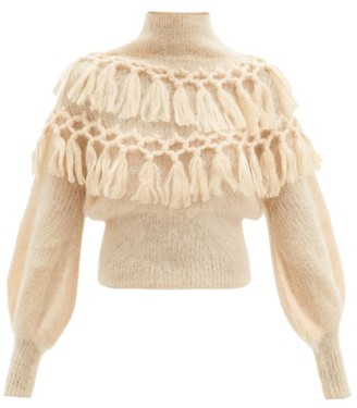 Zimmermann Ladybeetle Macrame-tassel Mohair-blend Sweater - Cream
