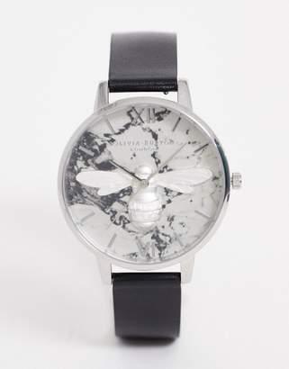 Olivia Burton Shoreditch leather watch in black