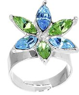 Body Candy Blue Green Marquise Flower Adjustable Ring