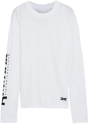 Reebok x Victoria Beckham Embroidered Printed Cotton-jersey Top