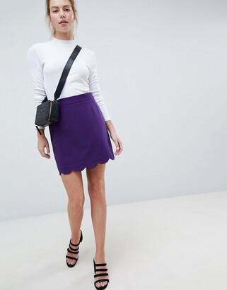 ASOS DESIGN a-line mini skirt with scallop hem
