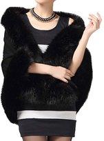 Win8Fong Women's Faux Fox Fur Shawl Cloak Cape Coat With Floral