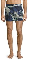 Burberry Gilmoor Printed Swim Trunks, Navy