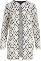 August Silk Cream Diamond Textured Long Open Cardigan