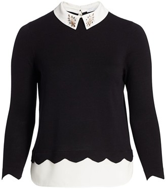 Joan Vass, Plus Size Modern-Fit Bejeweled Collar Sweater