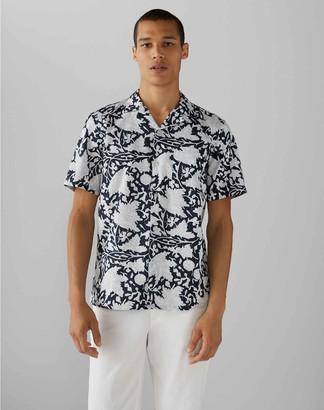 Club Monaco Camp Collar Vine Print Shirt